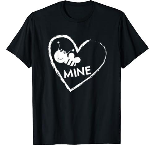 Bee Mine Valentines Day Gift Heart Boyfriend Girlfriend T Shirt