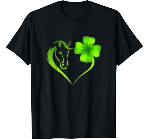 Horse Heart Leaf Irish St. Patrick Day Clover Heart T Shirt