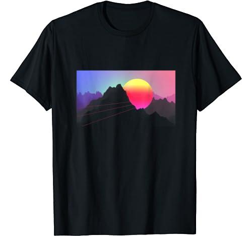 Retrowave Sunset Sunrise Over Mountains Vintage 80s Art T Shirt