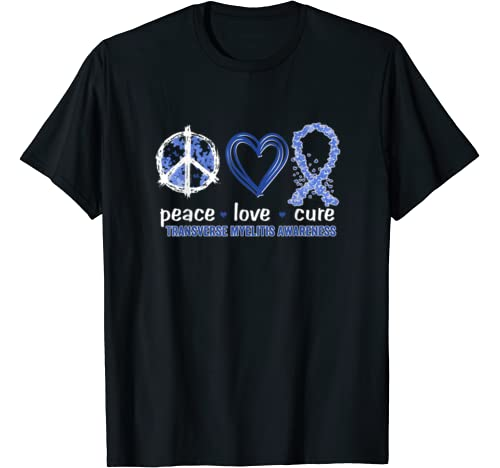 Peace Love Cure Transverse Myelitis Awareness T Shirt