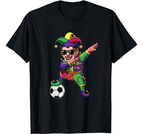 Cute Dabbing Mardi Gras Jester Soccer Lover Dab Costume Gift T Shirt