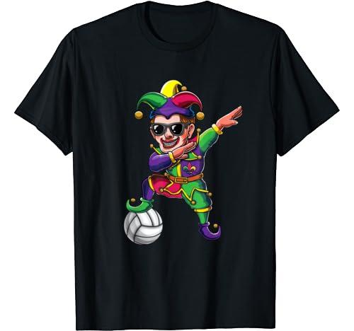 Cute Dabbing Mardi Gras Jester Volleyball Dab Costume Gift T Shirt