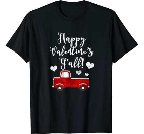 Red Vintage Pickup Truck Country Hearts Valentine's Day T Shirt