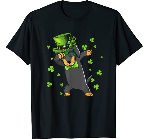 Dabbing Dachshund Patricks Day Leprechaun Dog Dab Shamrock T Shirt