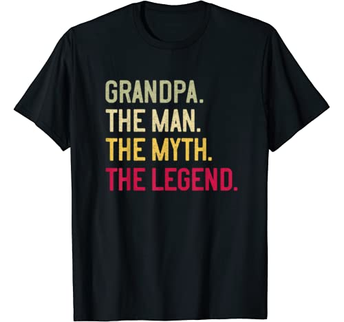 Mens Grandpa The Man The Myth The Legend Father's Day Papa Gift T Shirt