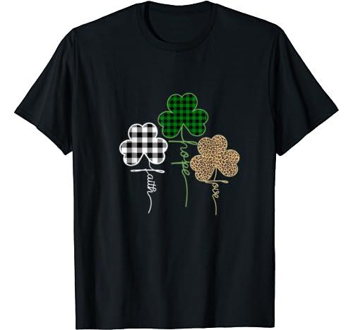Faith Hope Love Shamrock Clover Buffalo Plaid Funny Gift T Shirt