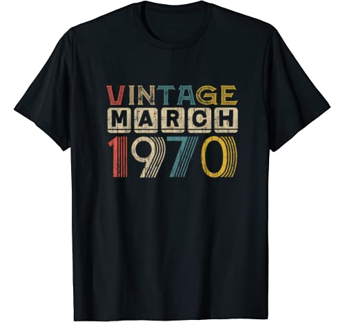 Vintage Retro March 1970 50 Years Old 50th Birthday Gift T Shirt