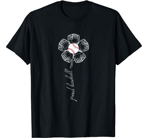 Proud Baseball Mom Flower   Mother's Day Shirt For Women.