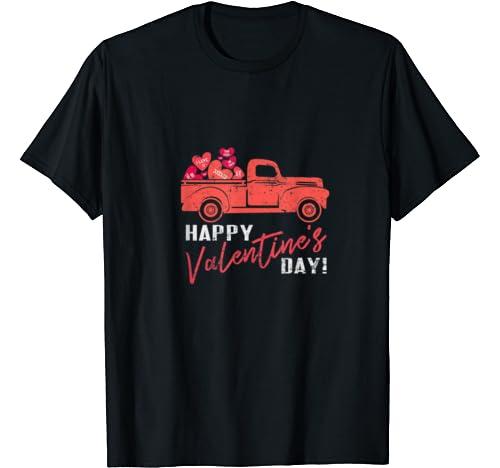 Vintage Valentine Red Truck Shirt   Happy Valentine's Day T Shirt