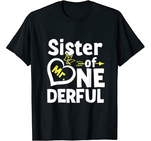 Sister Of Mr. Onederful 1st Birthday Matching Family Outfit T Shirt