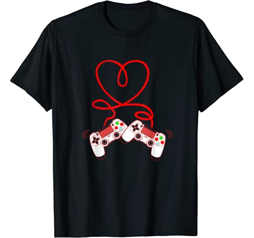 Video Gamer Valentines Day With Controllers Heart T Shirt