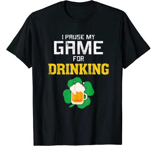 Video Game St Patricks Day Beer Drinking Tshirt For Men Boys T Shirt