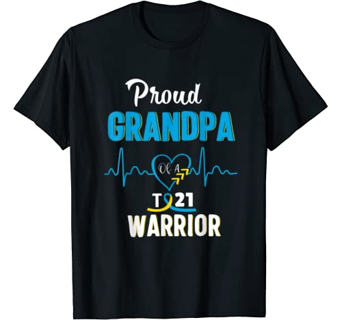 Proud Grandpa Of Down Syndrome Warrior Awareness Trisomy 21 T Shirt