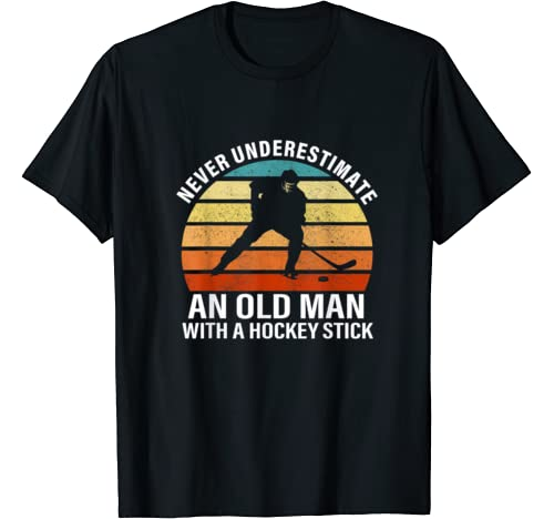 Mens Never Underestimate An Old Man With A Hockey Stick T Shirt