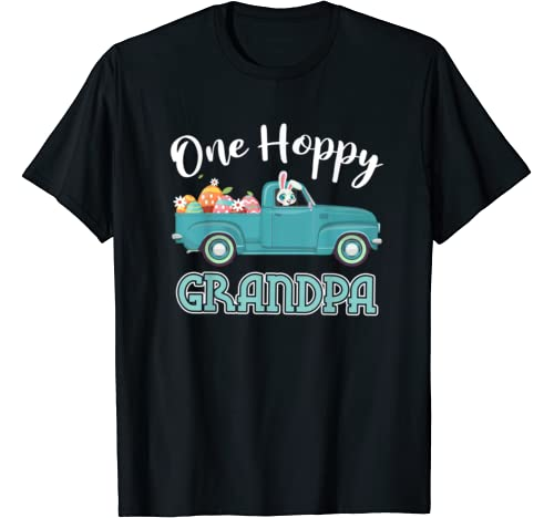 Mens One Hoppy Grandpa Easter Truck Costume Bunny Eggs Hunting T Shirt