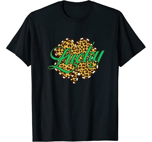 Leopard Printed Lucky Shamrock Plaid St Patrick's Day Gift T Shirt