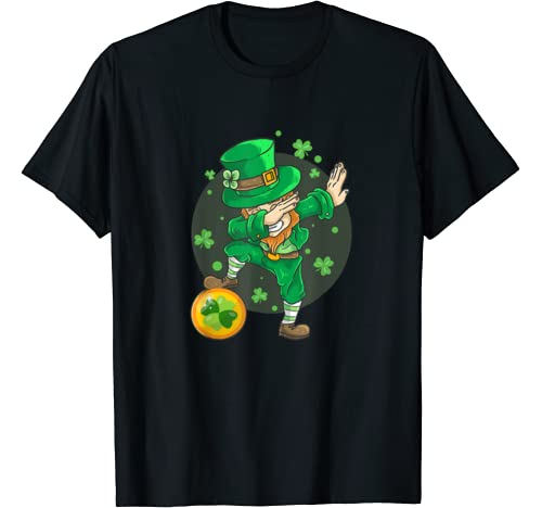 Funny St Patricks Day Dabbing Leprechaun For Boys Girls Kids T Shirt