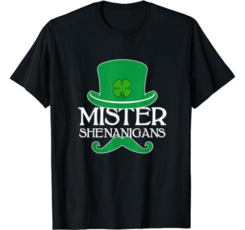 Mister Shenanigans St. Patricks Day Men Boys Leprechaun Gift T Shirt