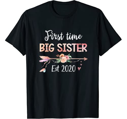 Promoted To Big Sister Est 2020   First Time Sister Floral T Shirt
