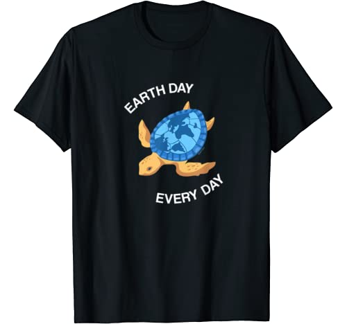 Earth Day Every Day Sea Turtle World Map Planet Global Gift T Shirt