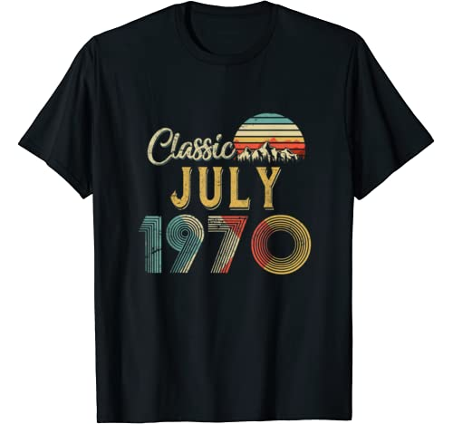 Retro Vintage July 1970 50th Birthday Gift For Men Women T Shirt