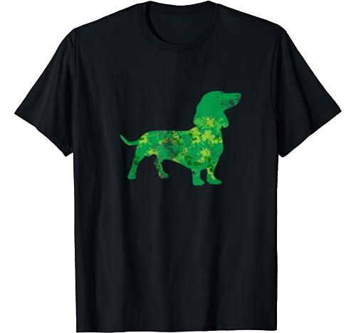 Dachshund Dog Graphic Shamrock St Patrick's Day Gift Mom Dad T Shirt