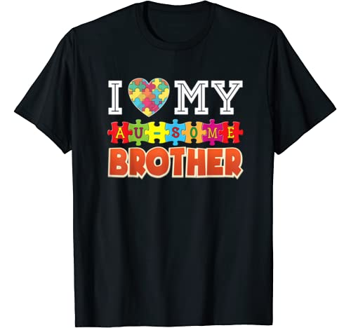 I Love My Au Some Brother Autism Awareness Awesome Rainbow T Shirt