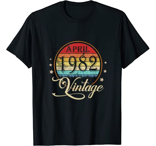 38th Birthday Gift Men Women Vintage Born In April 1982 T Shirt