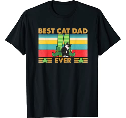 Mens Best Cat Dad Ever St Patrick Day Themed Retro Gift T Shirt