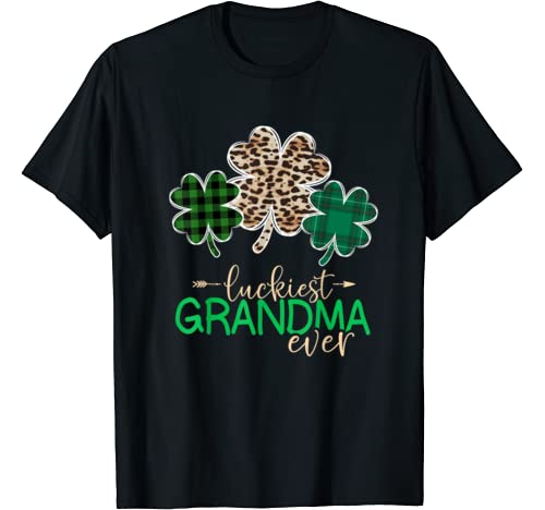 Luckiest Grandma Ever Funny Three Shamrocks St.Patrick's Day T Shirt