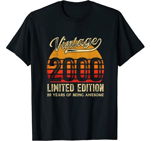 Vintage 2000 20 Years Awesome Retro 20th Birthday Gifts T Shirt