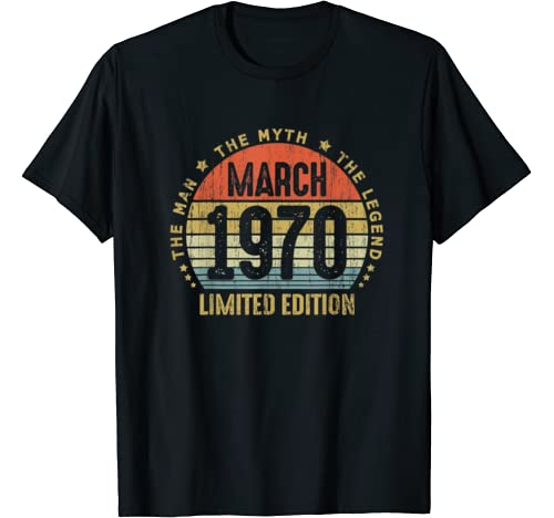 50th Birthday Gift Born In March 1970 50 Years Old Vintage T Shirt