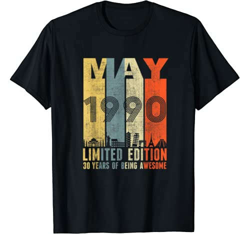 May 1990 Vintage Funny 30th Birthday Gift T Shirt