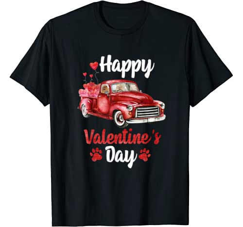 Pomeranian Riding Red Truck With Hearts Valentine's Day T Shirt