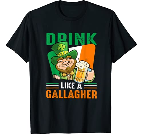 Funny St Patricks Day Drink Like A Gallagher Leprechaun Beer T Shirt