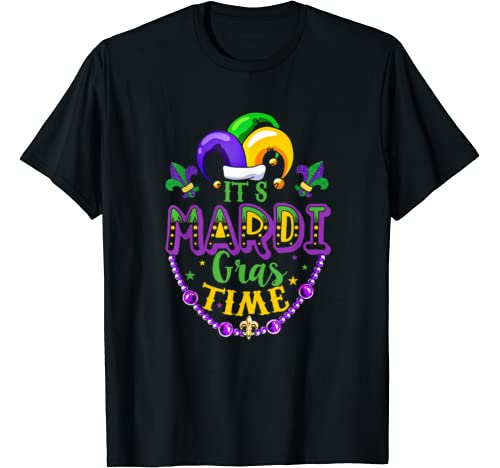 It's Mardi Gras Time Beads Costume New Orlean Festival Gift T Shirt