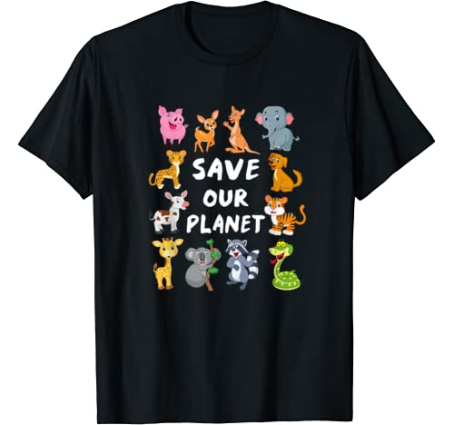 Kids Environmental Shirt With Cute Animals For Earth Day T Shirt