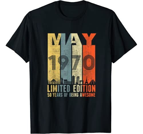 May 1970 Vintage Funny 50th Birthday Gift T Shirt