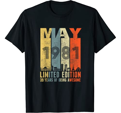May 1981 Vintage Funny 39th Birthday Gift T Shirt