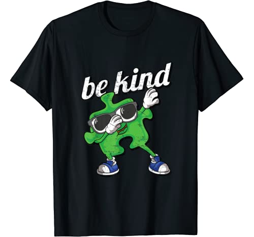 Be Kind Autism Awareness Dabbing Puzzle Piece Kids Gifts Boy T Shirt