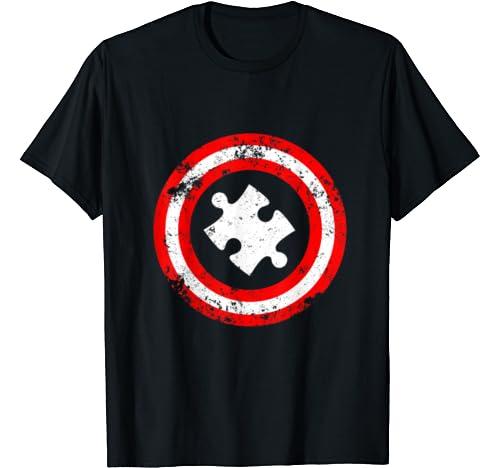 ZZHZMH Autism Superhero Awareness Boys Uniform Short Sleeve Fashion Crewneck Classic T-Shirt