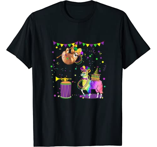 Mardi Gras Day Fat Sloth And Llama Mardi Gras Gift T Shirt