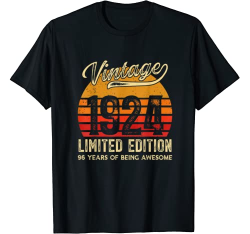 Vintage 1924 96 Years Awesome Retro 96th Birthday Gifts T Shirt