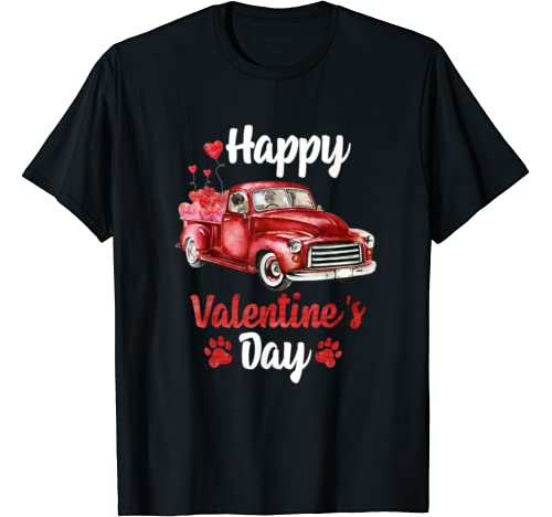 Pug Dog Riding Red Truck With Hearts Valentine's Day T Shirt