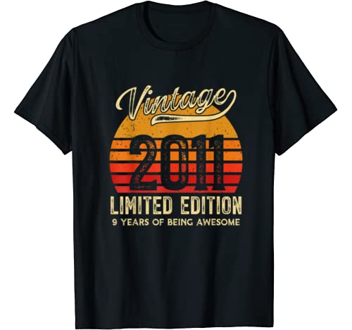 Vintage 2011 9 Years Awesome Retro 9th Birthday Gifts T Shirt