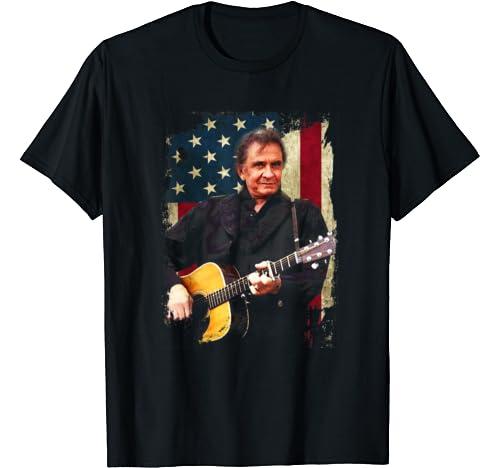 Vintage Johnny Tshirt Cash Country Music Love Flag American T Shirt