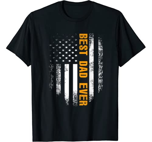 Vintage Best Dad Ever Shirt American Flag Father`s Day Gift