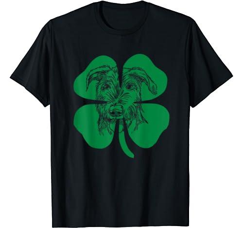Irish Wolfhound Face Head Green Shamrock Saint Patrick's Day T Shirt