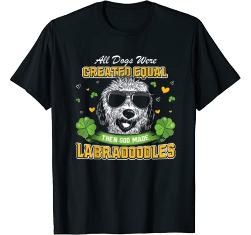 St Patricks Day Irish Shamrock Clover Lucky Labradoodles T Shirt