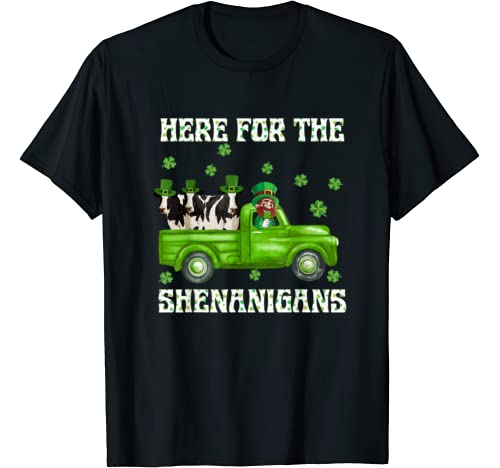 Here For The Shenanigans Leprechaun Cow St Patrick's Day T Shirt